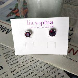 Lia Sophia Vintage Dark Red stud earrings